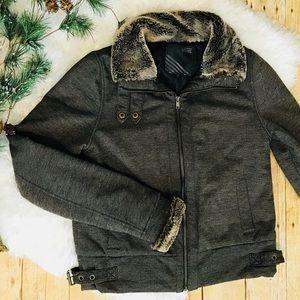 VANS Brown faux Fur trim midi Jacket